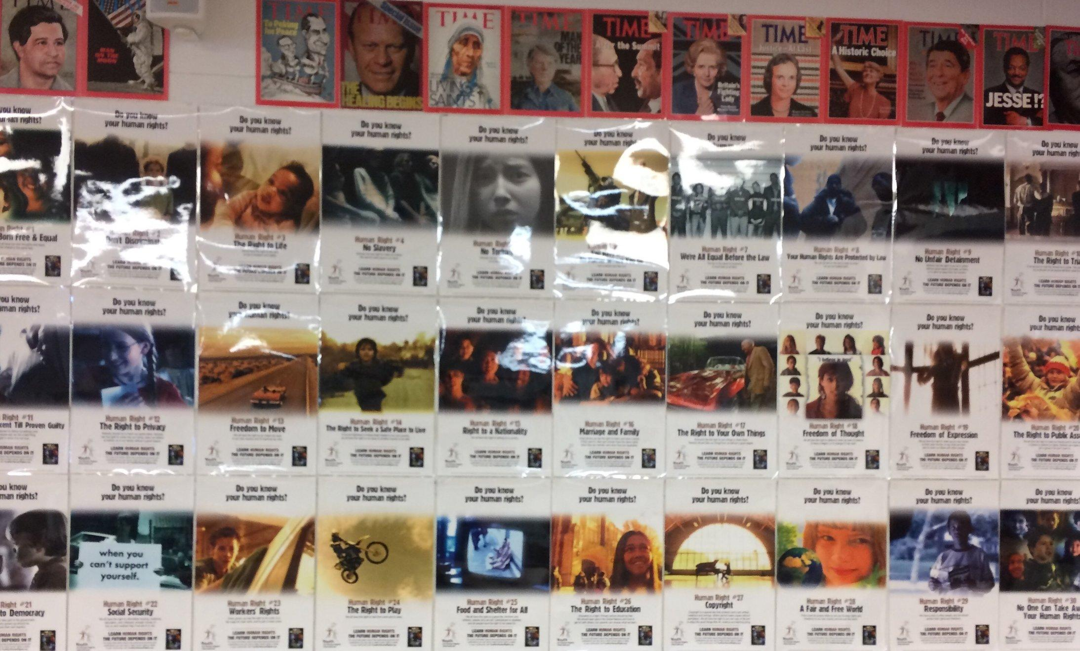 A wall of Human Rights in Mr. Prangen's room.
