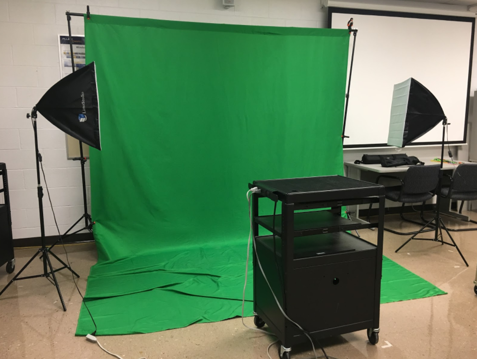 The tech help desk's green screen can be used for school projects and makes any video assignment amazing.