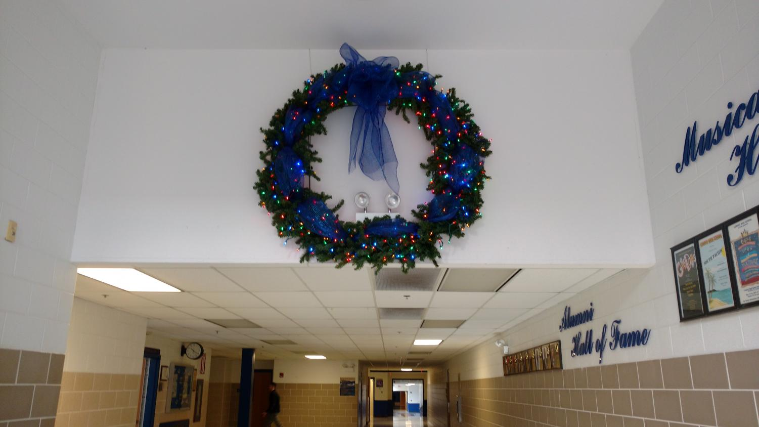 A giant wreath hung in the PAC.