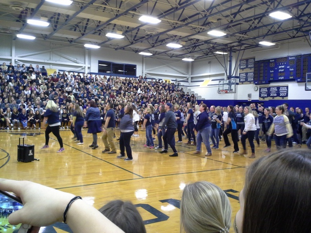 The teachers and staff close off the lip dub video with a dance.