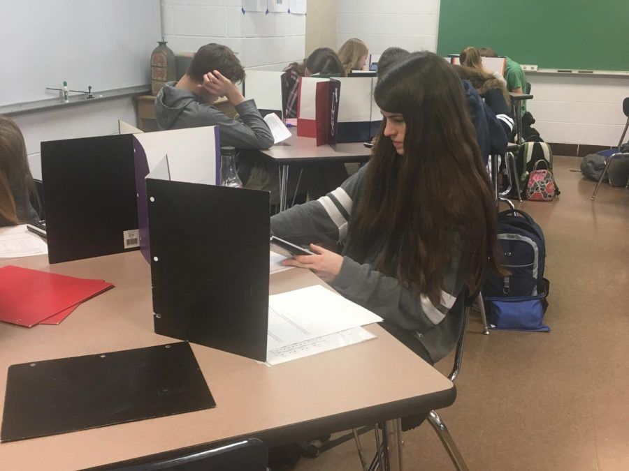The week before Spring Break poses a lot of stress for students, like sophomore Annika Swientek. The Math II Honors student worked hard in Ms. Marshall's class on one of the many tests she had this week.