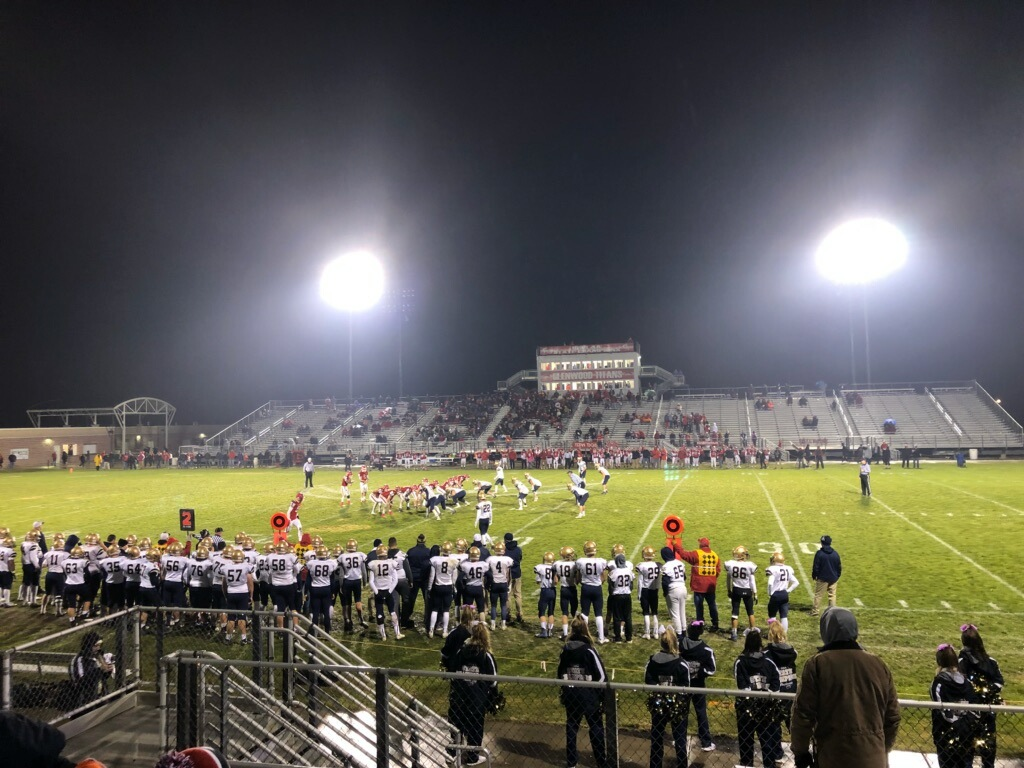 The Lemont Football team during their playoff game against Glenwood.