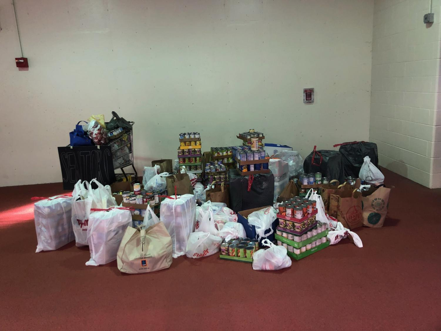 A sample of items from the food drive.