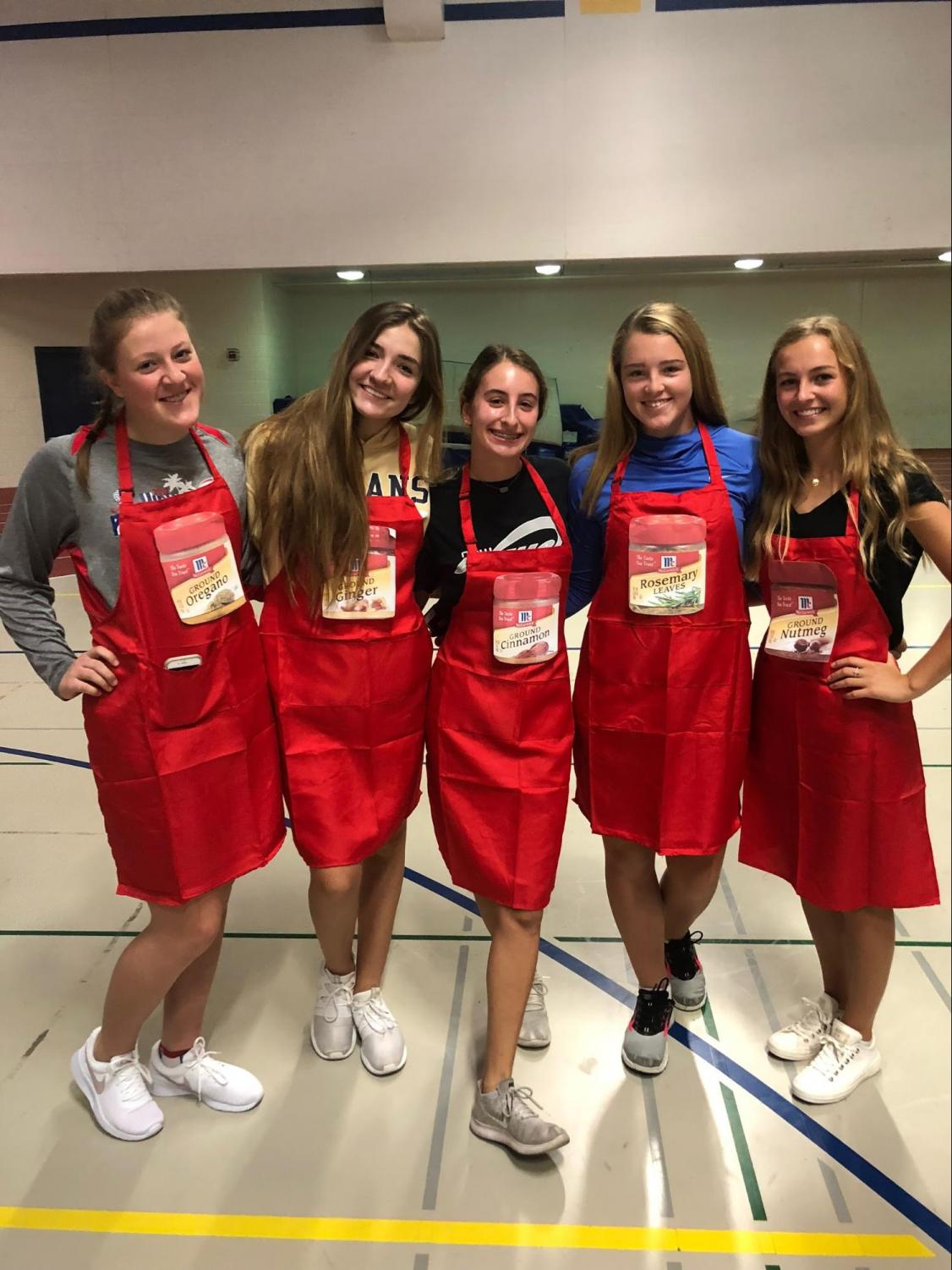 "(Left to right) Juniors Amy Schwem, Sophie Tally, Lea Gaetto, Morgan Wrublik and Abbey Ascoloni dressed up as ""Spice Girls"" for Pun day."