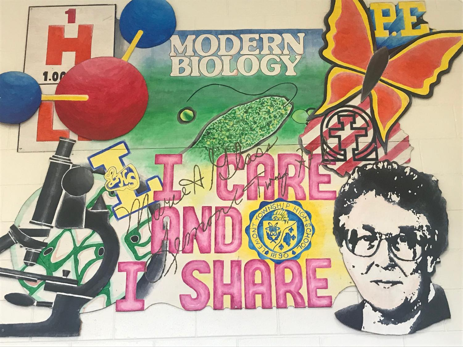 The large multi-colored mural attempts to capture Glass' dedication and enthusiasm for teaching. Her legacy continue to linger through generations of LHS graduates 28 years after she died of cancer.