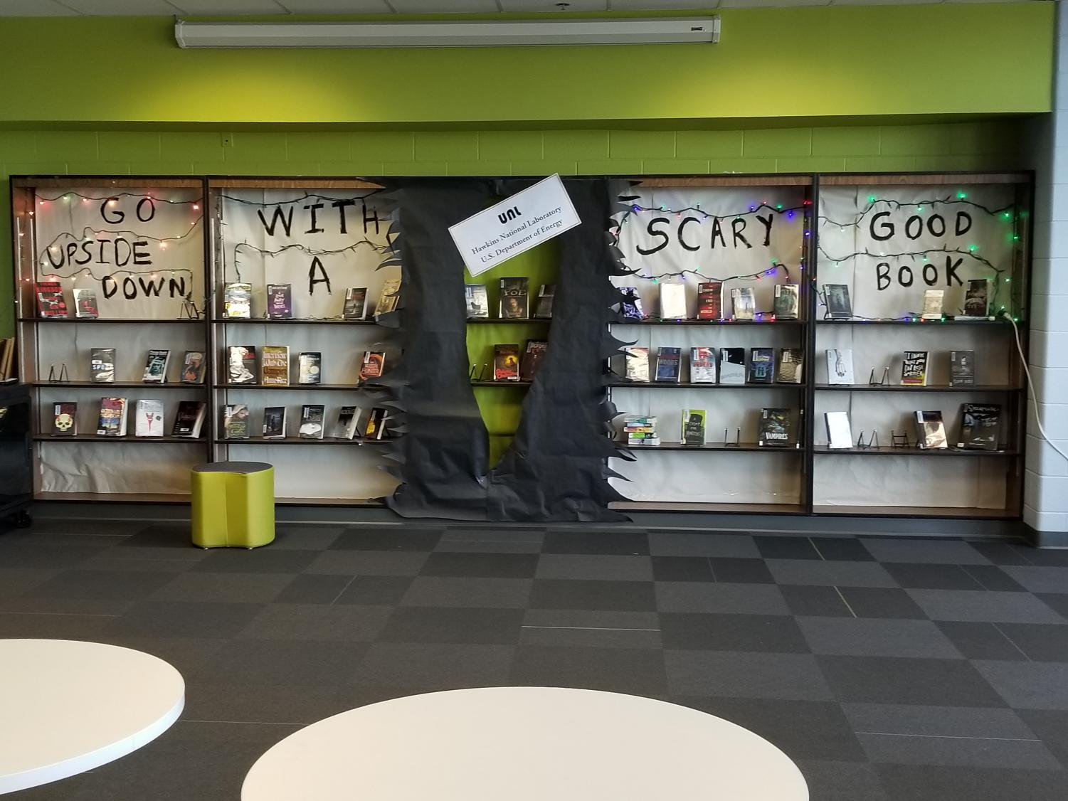Horror books line the display in the Citgo Innovation Academy.