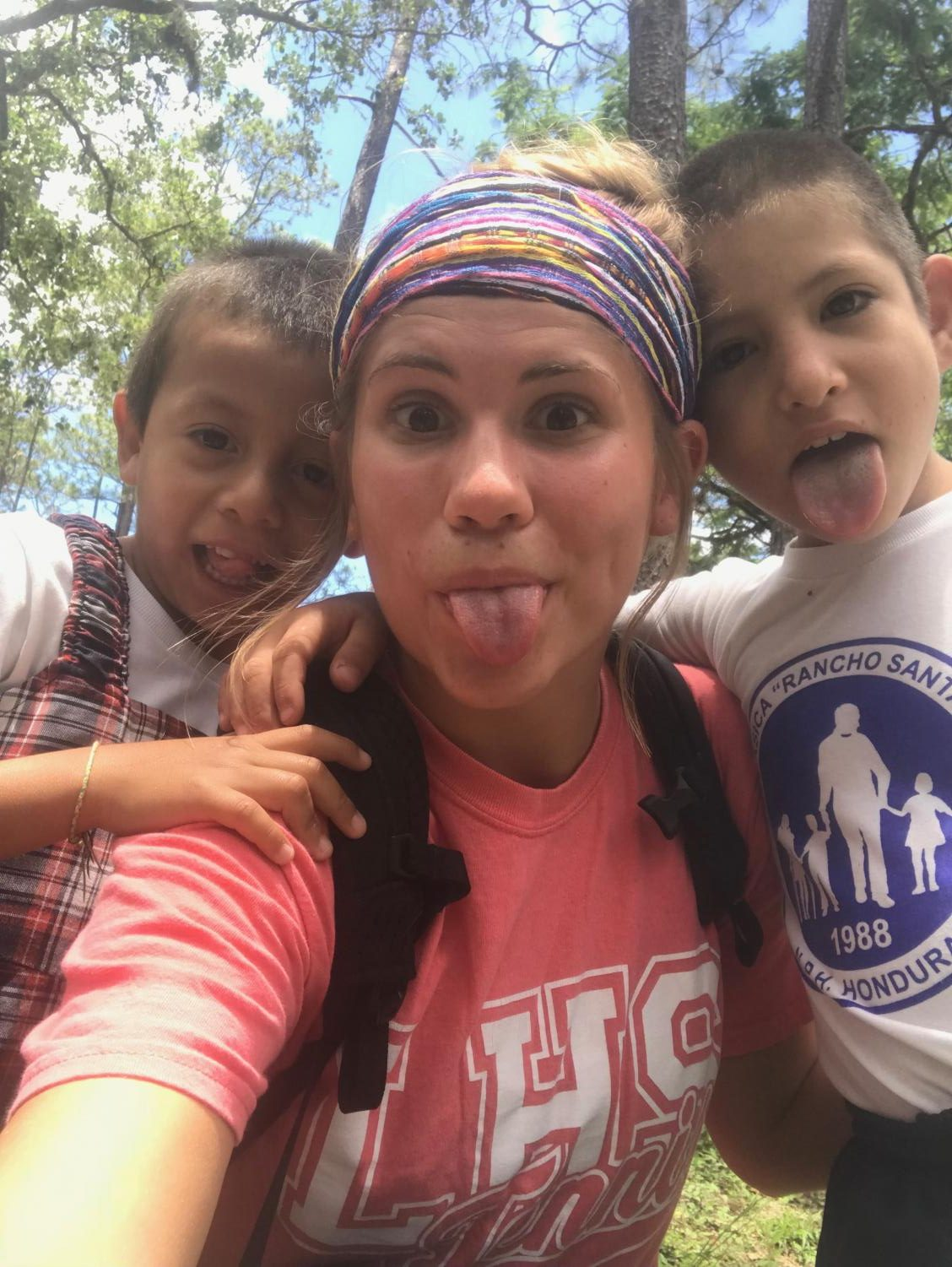Smith took a bunch of selfies with her sponsor children in Honduras. Photo courtesy of Jordyn Smith