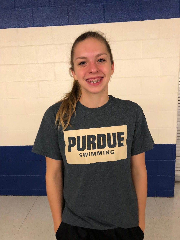 Sylvia Kobylak proudly represents Purdue swim.