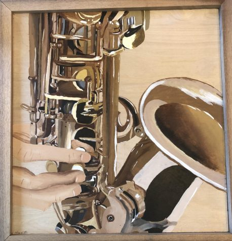 This is a saxophone painting created by Robyn Kraft in her senior year. The painting is dedicated to Kraft's boyfriend and the LHS Band.