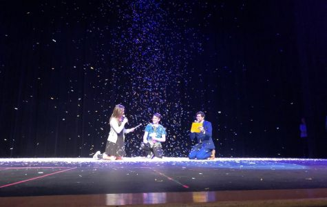 "After being named Mr. LHS, senior Ricky Moravecek was showered by confetti as co-hosts Grace Horky and Kyle Devitt sang an original Mr. LHS-themed song to share in his victory. ""By the end of the night, us guys were having so much fun it didn't even feel like a competition,"" said Moravecek. Photo by Natalie Palarz"