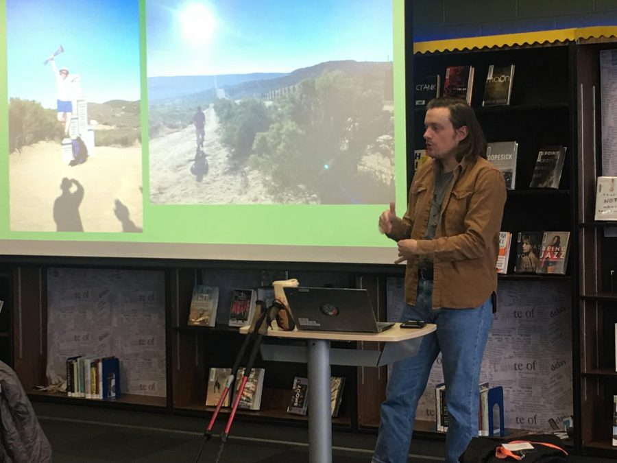 LHS+Alum+Liam+Purtle+visits+the+CITGO+Innovation+Academy+to+speak+about+his+recent+hike+along+the+Pacific+Crest+Trail.+