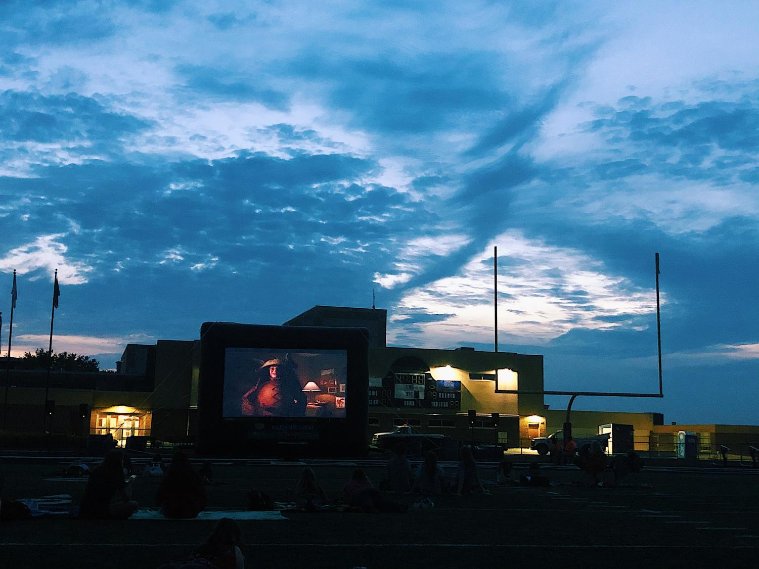 This was the first movie night that was hosted on the football field. The screen and tech setup was provided by the Lemont Park District