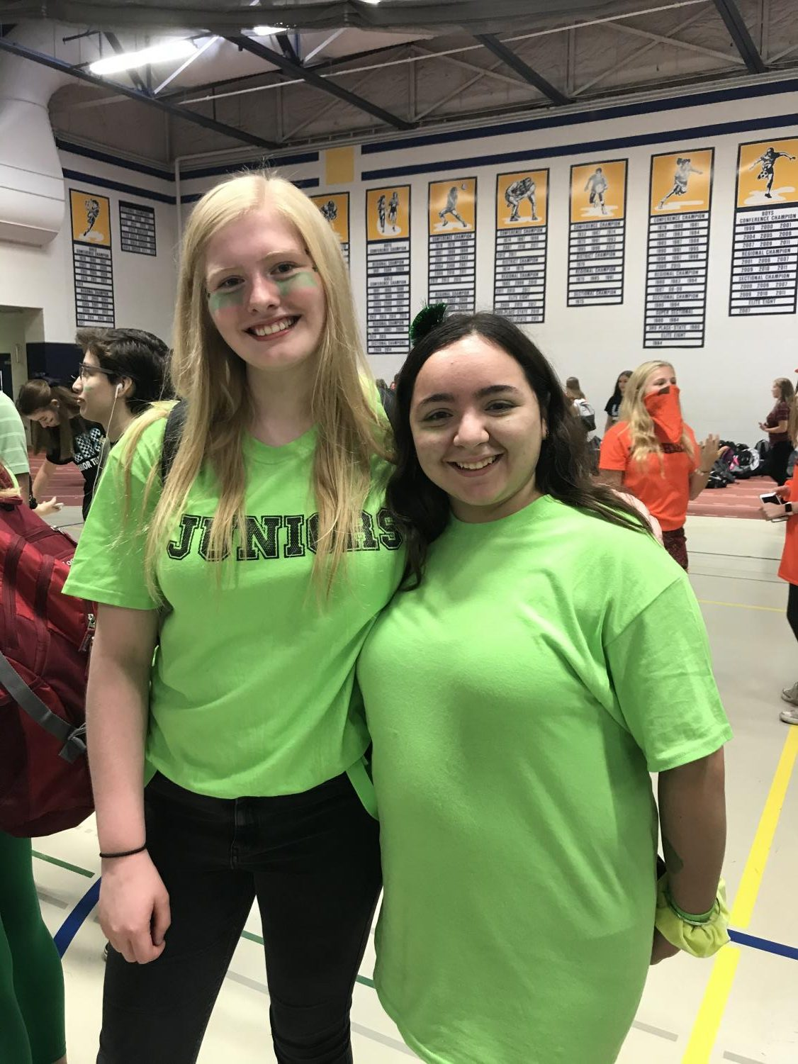 Students from all grades have the opportunity to participate in skits and games during spirit week. Pictured: Juniors Lauren Rearden and Calista Chaidez