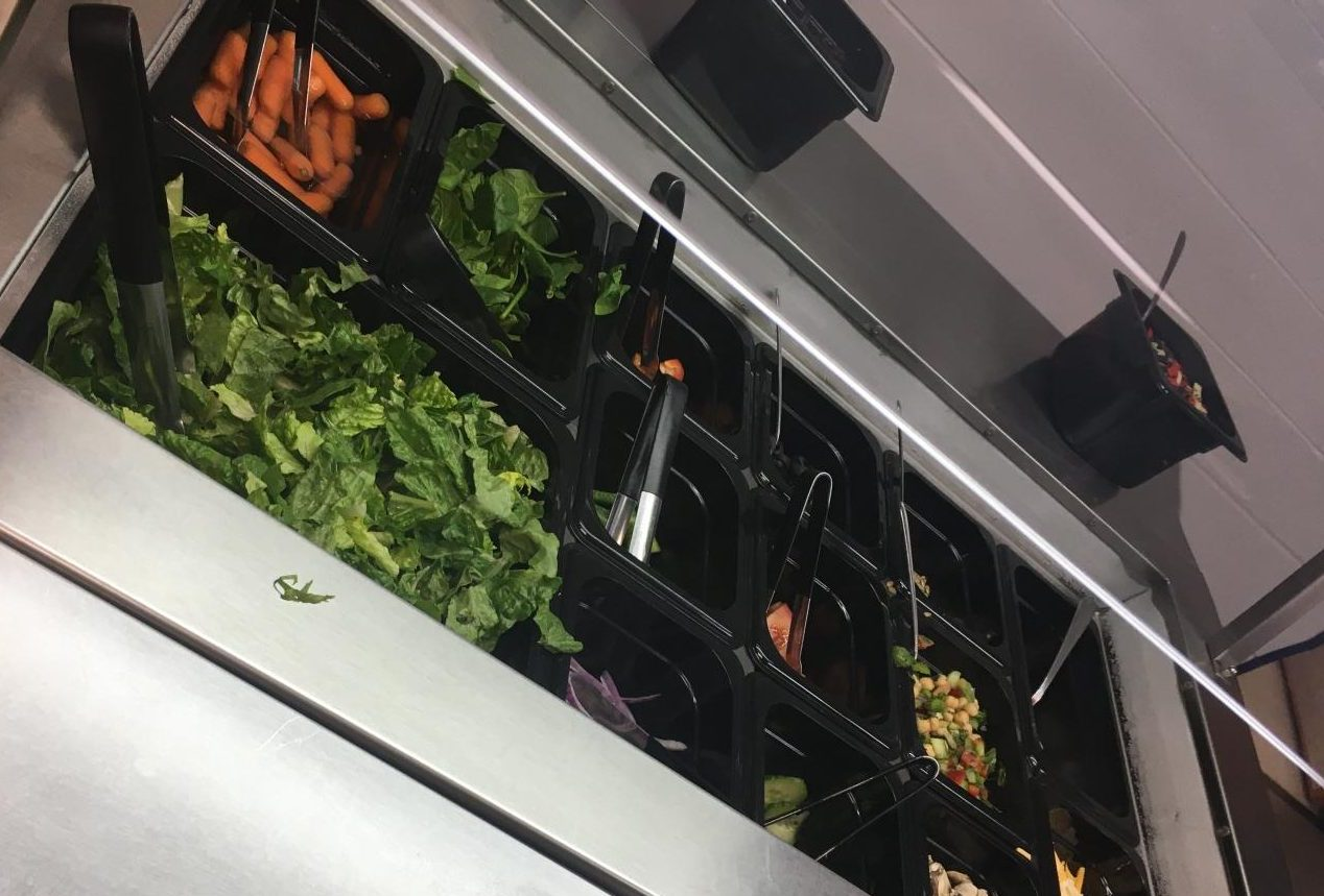 The salad bar is available to any students who are vegetarian, vegan, or just looking for healthier food choices.