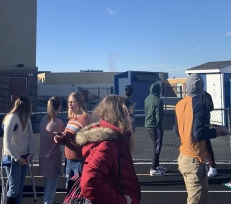 This shows how students had to evacuate through the entrance near the commons. Many were confused about why there was smoke rising up from the chimney.