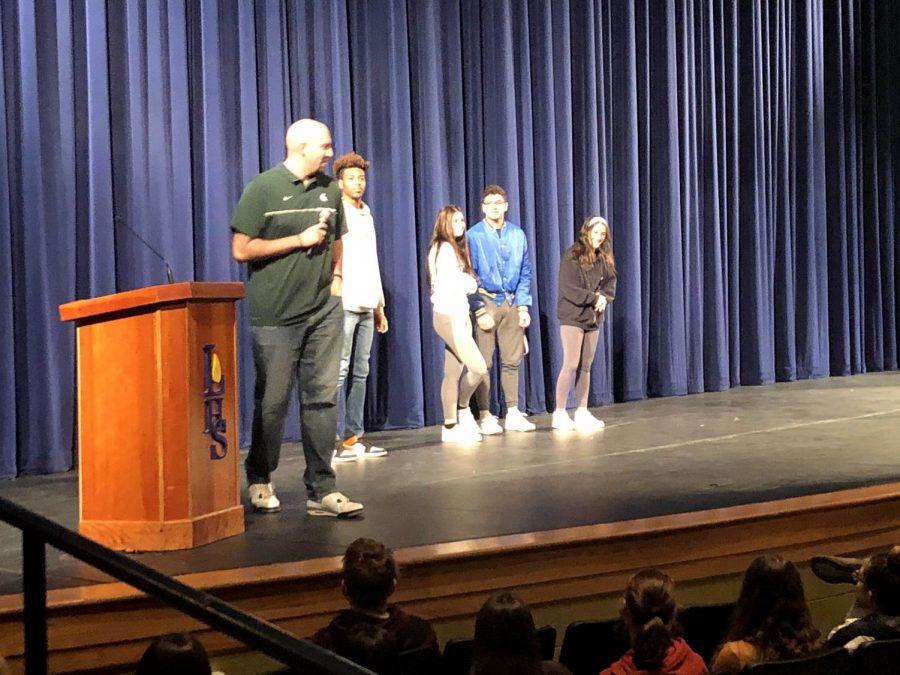 Anthony Ianni interacted with students on stage throughout the assembly. Ianni also had a chance to visit some classrooms after the assembly.