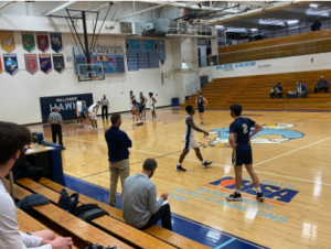 Freshman, Nojus Indrusaitis at the line shooting free throws early in the first quarter. Lemont ended up losing to Hillcrest in this game 77-67.