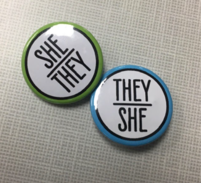 For my pronoun pins, as I like to use they/them and she/her interchangeably, I got two pins (if I have a preference on the day I am wearing them, I will only wear one pin instead of two).