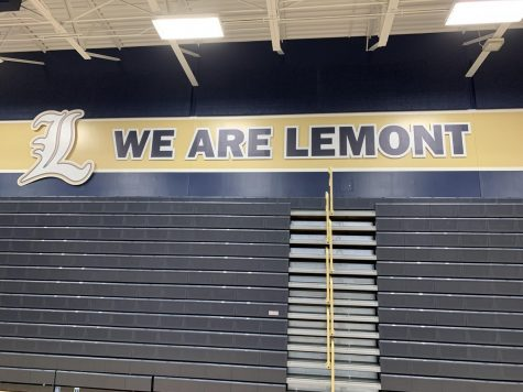 The newly renovated gym exhibits We Are Lemont in an effort to reduce costs when the name and mascot changed.