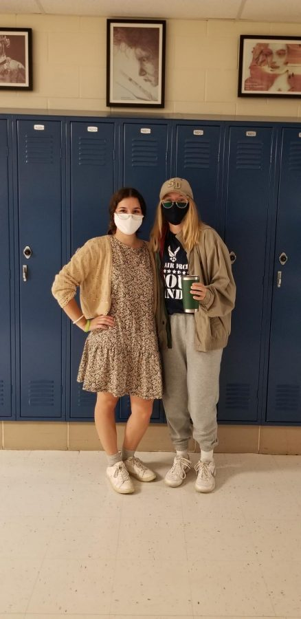 Seniors Bella Wilton and Lauren MacLean transformed into an elderly couple to get into the spirit of the day.
